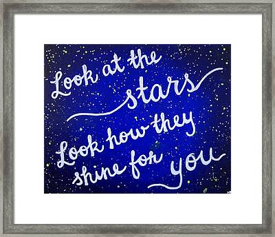 Look At The Stars Quote Painting Framed Print by Michelle Eshleman