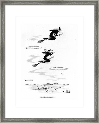 Look - No Hands! Framed Print by Chon Day