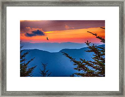 Look To The Sunset From The Top Of Mount Mitchell Framed Print