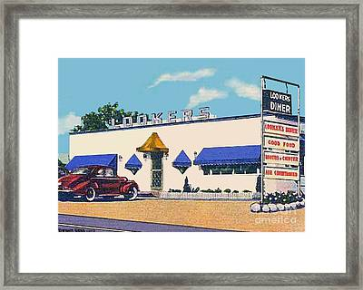 Lookers Diner In Rutland Vt Around 1940 Framed Print