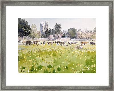 Looking Across Christ Church Meadows Framed Print by Lucy Willis