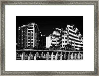 Looking Across Pont Del Regne At Apartment Blocks And Hotels In Downtown Distrito Camins Al Grau Val Framed Print