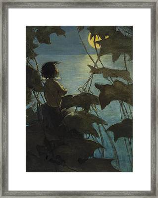 Looking At The Moon Circa 1916 Framed Print