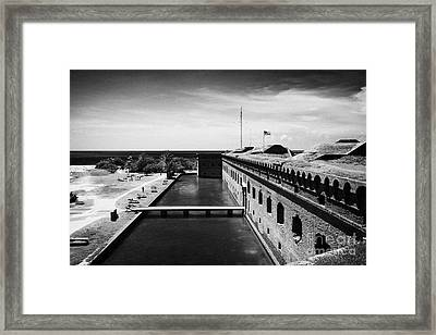 Looking Down From Basion Walls Over Moat Sally Dock Entrance To Fort Jefferson Dry Tortugas National Framed Print by Joe Fox