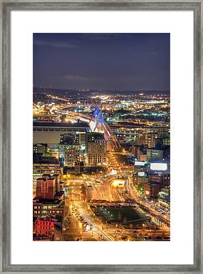 Looking Down -  Boston Skyline Aerial Framed Print by Joann Vitali