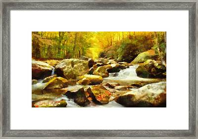 Looking Down Little River In Autumn Framed Print by Dan Sproul
