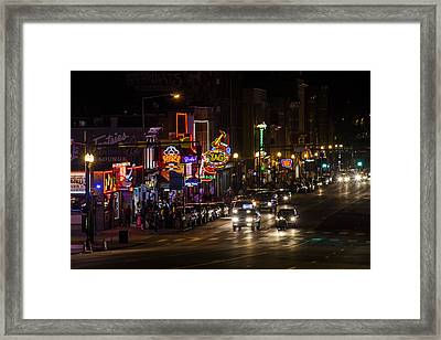 Looking Down Broadway In Nashville Framed Print by John McGraw