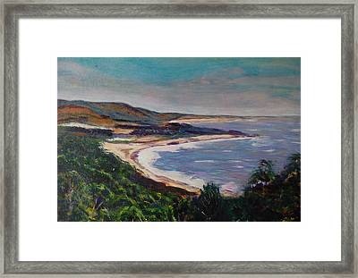 Looking Down On Half Moon Bay Framed Print by Carolyn Donnell