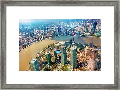 Looking Down Oriental Pearl Tv Tower Framed Print