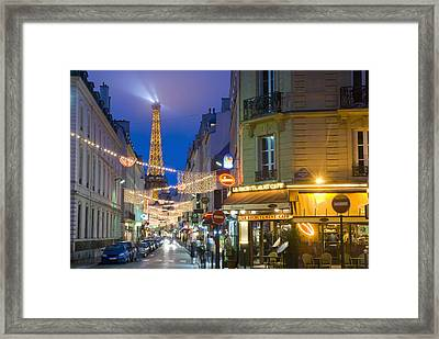 Looking Down Rue St Dominique At Dusk Framed Print