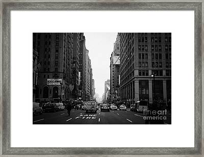 Looking Down The Middle Of Seventh Avenue Outside Madison Square Garden Framed Print by Joe Fox