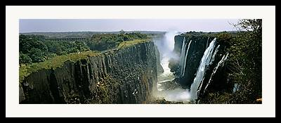 Zambia Waterfall Framed Prints