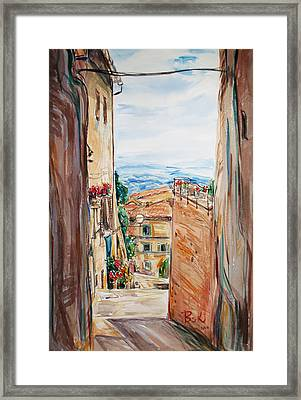 Framed Print featuring the painting Looking Down The Village by Becky Kim