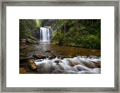 Looking Glass Falls - Blue Ridge Waterfalls Brevard Nc Framed Print by Dave Allen