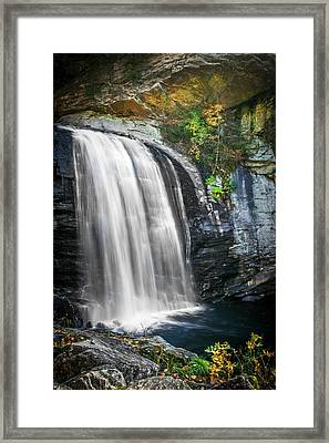 Looking Glass Falls Great Smoky Mountains Painted  Framed Print by Rich Franco