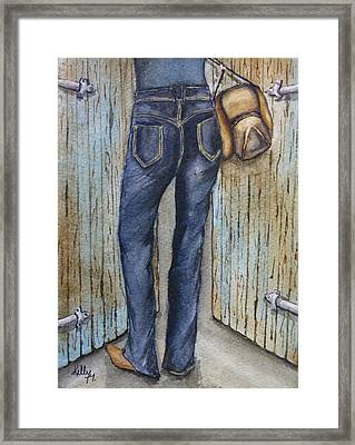 Framed Print featuring the painting Blue Jeans A Hat And Looking Good by Kelly Mills