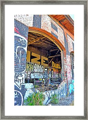 Looking Inside The Old Train Roundhouse At Bayshore Near San Francisco And The Cow Palace IIi  Framed Print by Jim Fitzpatrick
