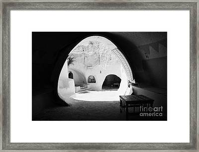 looking out from one of the caves at the Sidi Driss Hotel underground at Matmata Tunisia scene of Star Wars films Framed Print