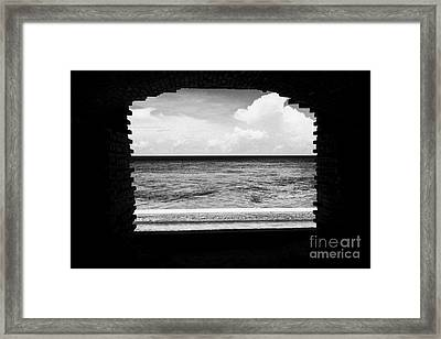 Looking Out Of Brick Archway Towards The Outer Wall And Sea Fort Jefferson Dry Tortugas National Par Framed Print by Joe Fox