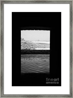 Looking Out Of Embrassure Wall Port In Fort Jefferson Dry Tortugas National Park Florida Keys Usa Framed Print by Joe Fox