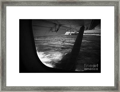 Looking Out Of Seaplane Window Landing On The Water Next To Fort Jefferson Garden Key Dry Tortugas F Framed Print by Joe Fox