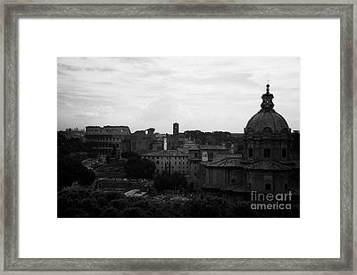 Looking Out Over Rome Including Skyline With The Colosseum And Dome Of Santi Luca E Martina With The Imperial Roman Forum Below Lazio Italy Framed Print