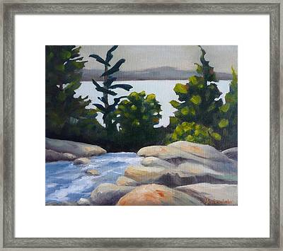 Framed Print featuring the painting Looking Out Over Rosseau Falls by Jo Appleby