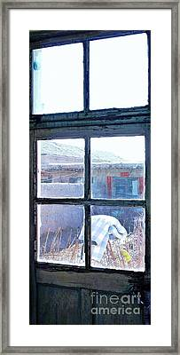 Framed Print featuring the photograph Looking Out The Kitchen Door In February by Ethna Gillespie