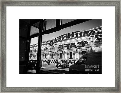 Looking Out Through Small Cafe Window At Smithfield Market London England Uk Framed Print
