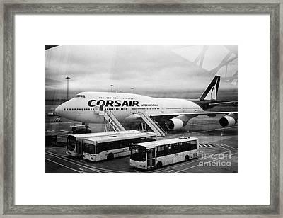 Looking Out Through Terminal Window At Corsair International Airlines Boeing 747 F-hsea Dublin Airpo Framed Print by Joe Fox
