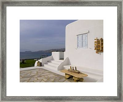 Looking Out To Sea In Mykonos Framed Print