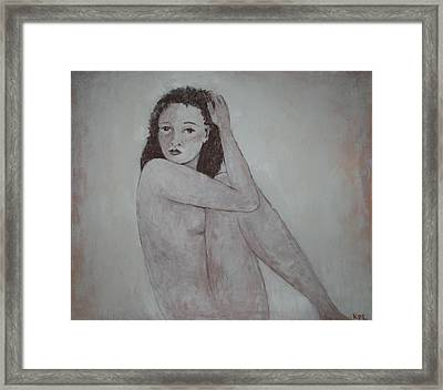 Looking Over Her Shoulder Framed Print by Kathy Peltomaa Lewis