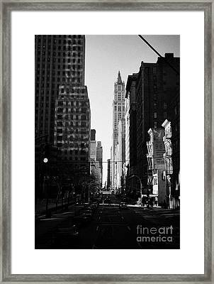 Looking South Down Broadway At Thomas Street Towards The Woolworth Building New York City Framed Print by Joe Fox