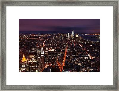 Looking South On Nyc New York City Skyline From The Empire State Building Observation Deck Framed Print