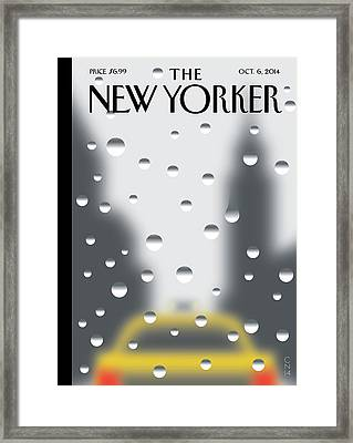 Looking Through A Window On A Rainy New York Day Framed Print