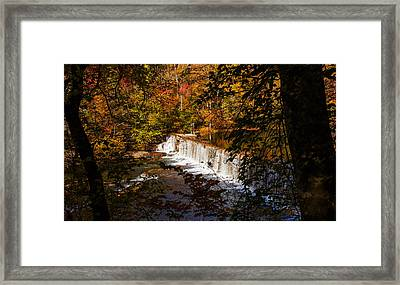 Looking Through Autumn Trees On To Waterfalls Fine Art Prints As Gift For The Holidays  Framed Print