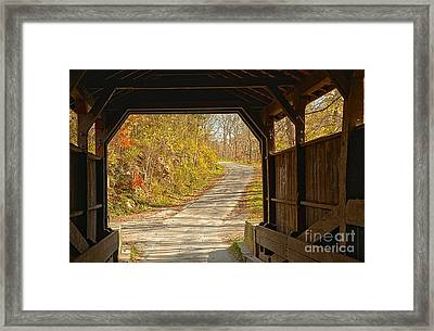 Looking Through Herns Covered Bridge Framed Print by Adam Jewell