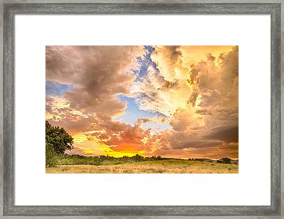 Looking Through The Colorful Sunset To Blue Framed Print