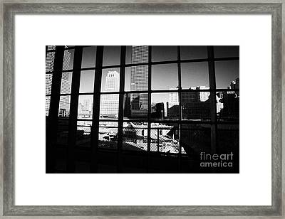 Looking Through The Metal Fence Down Onto The World Trade Center Reconstruction Site Ground Zero Framed Print by Joe Fox