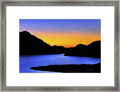 Looking Through The Quartz Mountains At Sunrise - Lake Altus - Oklahoma Framed Print