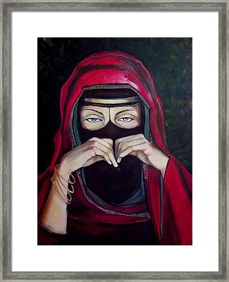 Framed Print featuring the painting Looking Through Niqab by Irena Mohr