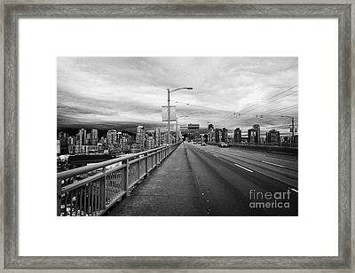 looking towards vancouver downtown from granville street bridge over false creek Vancouver BC Canada Framed Print by Joe Fox
