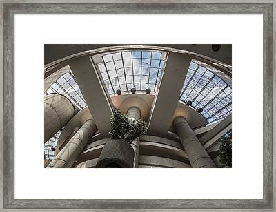 Looking Up At Renaissance Center In Detroit Framed Print