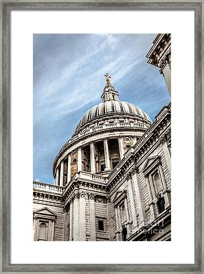 Looking Up At The Dome Of Saint Pauls Cathedral In London Framed Print