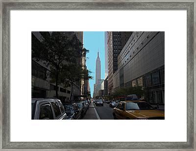 Looking Up Eight Ave In Ny. Ny Framed Print by Edward Kocienski