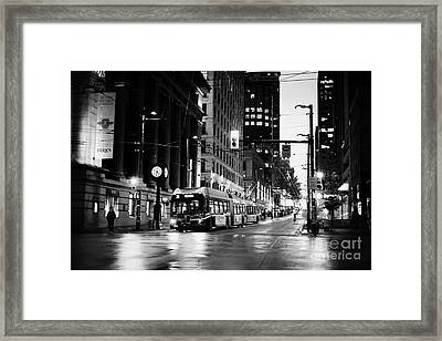 looking up granville from birks place hastings west Vancouver BC Canada Framed Print