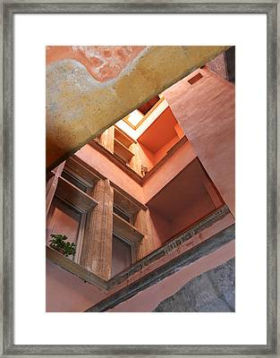 Looking Up In The Rose Tower Of Lyon Traboule Framed Print by Carla Parris