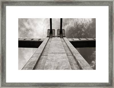 Looking Up On The Hennepin Avenue Bridge Framed Print by Jim Hughes