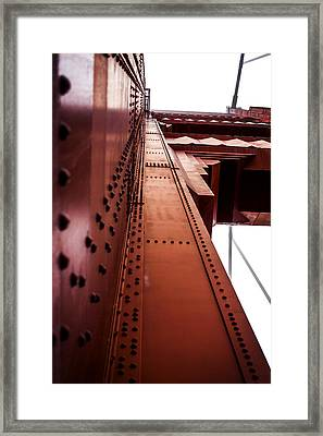 Looking Up The Golden Gate Bridge Framed Print by SFPhotoStore