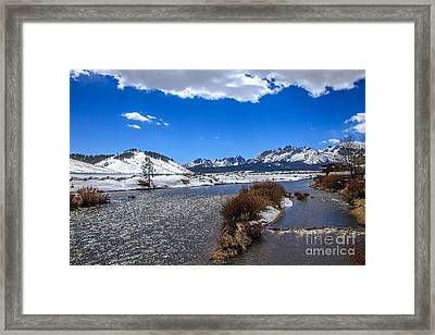 Looking Up The Salmon River Framed Print